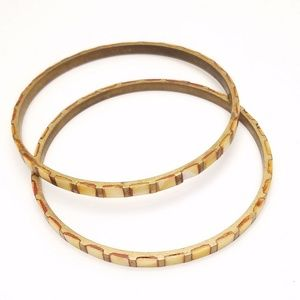 Vintage Shell Inlay Bangle Set of Two Summer Vibes